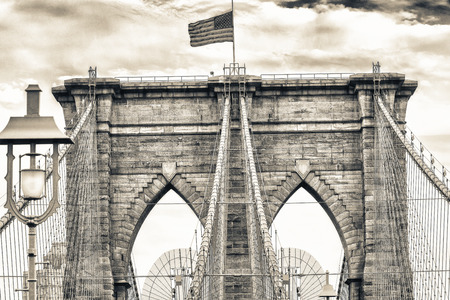 magnificence: Magnificence of Brooklyn Bridge, New York City. Stock Photo