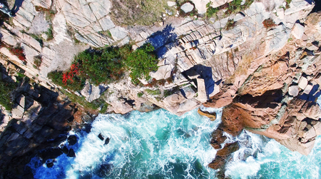 erratic: Beautiful fall colors of Acadia, Maine. Aerial view from helicopter.
