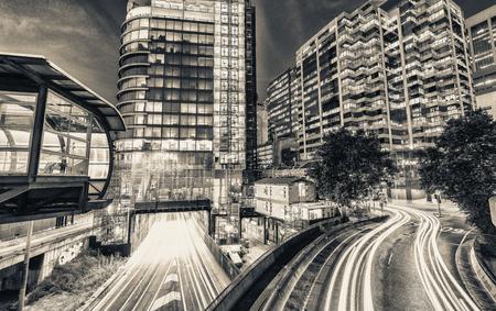 city traffic: Night traffic around Darling Harbour with car light trails, Sydney.
