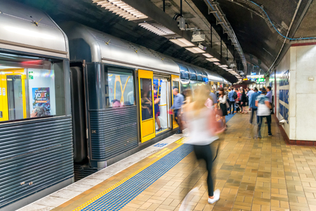 sydney: SYDNEY - NOVEMBER 8, 2015: Subway station interior. More than one million passengers use city subway each weekday