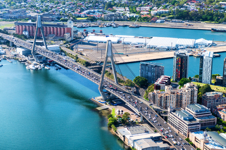anzac bridge: Beautiful aerial view of Anzac Bridge and Sydney skyline from helicopter. Stock Photo