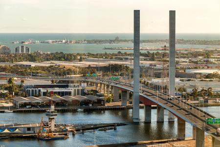 west gate: West Gate Bridge in Melbourne, aerial view.