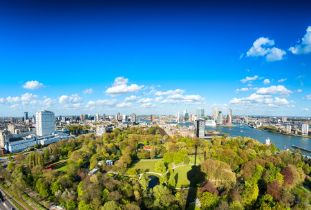 Beautiful aerial view of Rotterdam skyline.