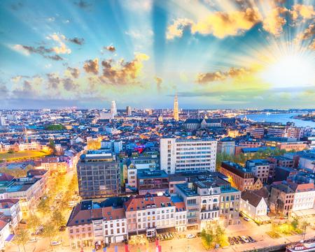 antwerp: Aerial view of Antwerp, Belgium.