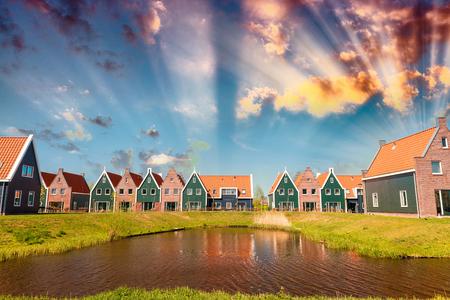 volendam: Sunset over Volendam, Holland. Stock Photo