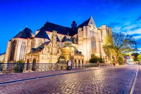 Gent, Belgium. Beautiful medieval night skyline.