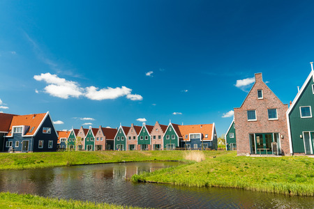 Classic homes of Volendam, Netherlands.