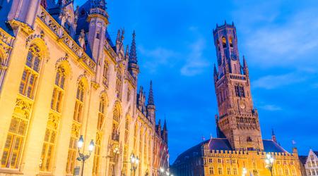 bruges: Ancient architecture of Bruges Square, Belgium.