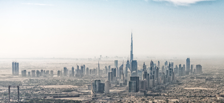 Stunning aerial view of Dubai skyline, UAE