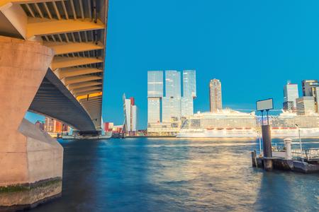 rotterdam: Night skyline of Rotterdam - The Netherlands.
