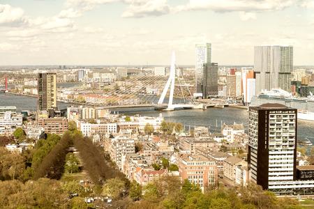 Beautiful aerial view of Rotterdam skyline.