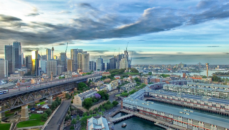 new south wales: Aerial view of Sydney Skyline, New South Wales, Australia. Stock Photo