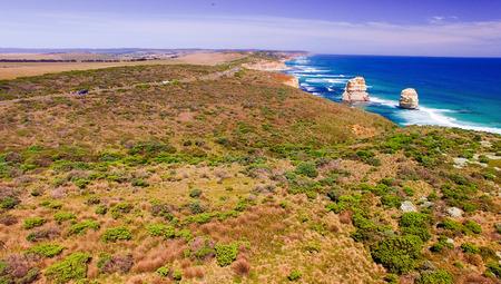 twelve: Aerial view of Twelve Apostles coastline, Australia. Stock Photo