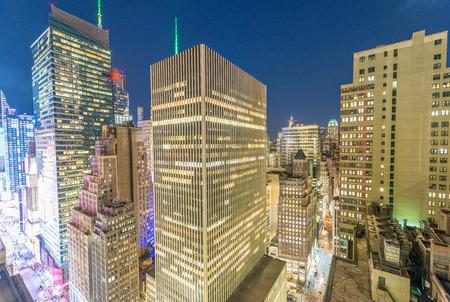 New York skyline from rooftop. Sunset over Manhattan. Stock Photo