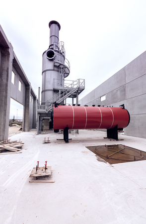 kiln: Chemical construction site with rotary kiln.