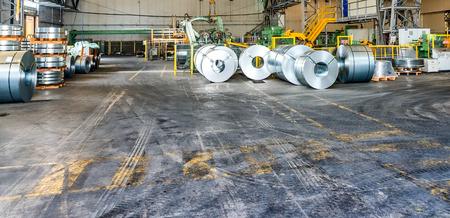 ironworks: Steel coils warehouse. Stock Photo
