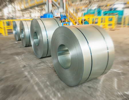 Packed rolls of steel sheet, Cold rolled steel coils.