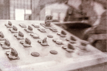 control center: Vintage view of factory control center.
