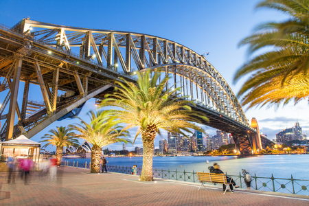 magnificence: Magnificence of Sydney Harbour Bridge at dusk. Stock Photo