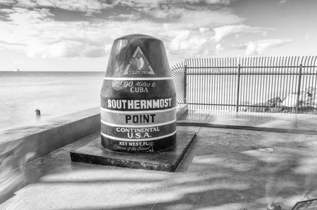 southernmost: Southernmost Point Landmark free of tourists in Key West, Florida - USA.
