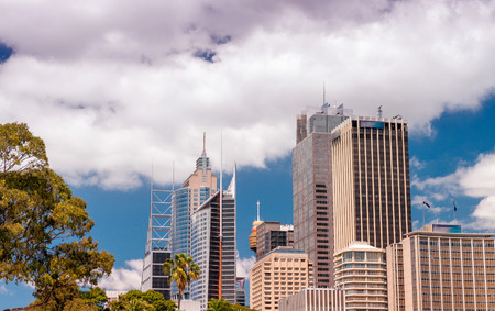 new south wales: Sydney, New South Wales. City skyline on a beautiful day. Stock Photo