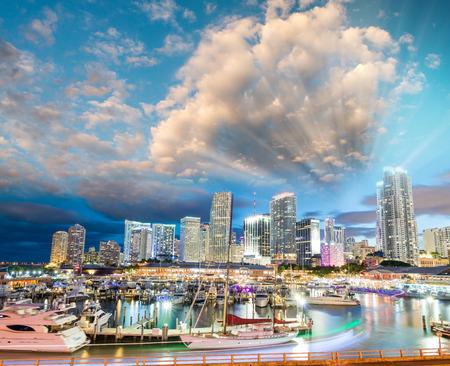 miami florida: Miami night skyline from Port Boulevard. Florida sunset.