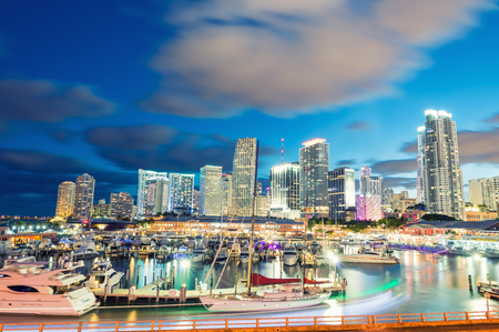 miami florida: Sunset over Miami, Florida. Wonderful cityscape at dusk. Stock Photo