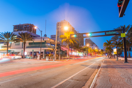 intercoastal: FORT LAUDERDALE, FL - JANUARY 10, 2016: City night life at dusk. Fort Lauderdale is a preferred tourist attraction in Florida during winter time.