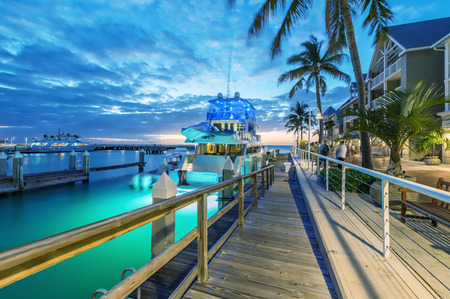 Anchored yacht in Key West Port, Florida.