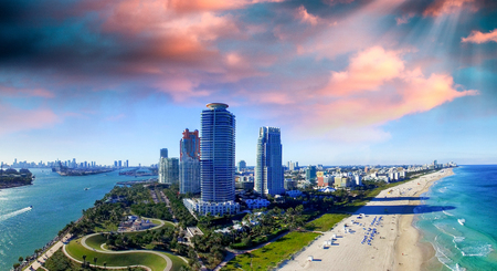 Miami Beach, Florida. Beautiful panoramic aerial view at sunset.