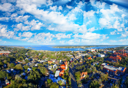 Aerial panoramic view of St Augustine, Florida.