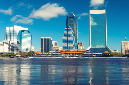 Skyline of Jacksonville against the sky, Florida.