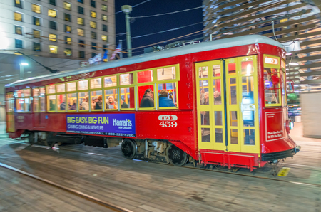 canal street: NEW ORLEANS - JANUARY 21, 2016: Street car in canal Street. It is the oldest continually operating street car line in the world. Editorial
