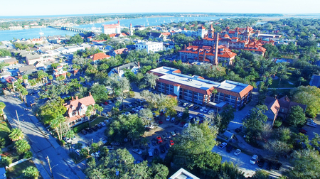 augustine: Aerial view of St Augustine, Florida. Stock Photo