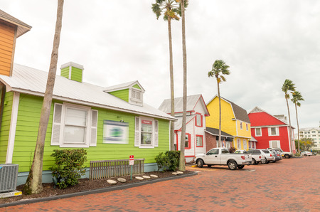 saluzzo: Wooden colourful buildings. Stock Photo