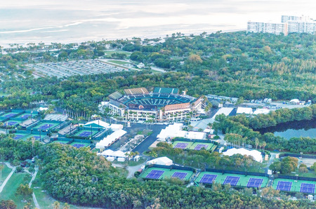 key biscayne: KEY BISCAYNE, FL - FEBRUARY 27 : Aerial view of the Crandon Park Tennis Center in Key Biscayne, Miami area, on February 27, 2016. Home of the Sony Ericsson Open since 1987 it has a capacity of 13300