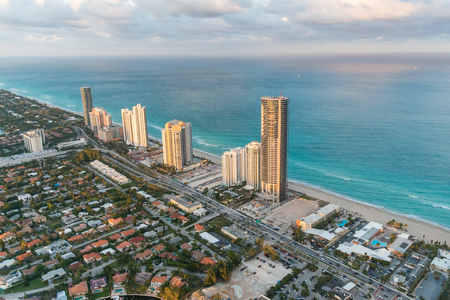 cayman islands: Miami Beach, Florida. Amazing sunset view from helicopter. Stock Photo