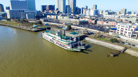 annually: NEW ORLEANS - FEBRUARY 11, 2016: Wonderful aerial city view. New Orleans attracts 10 million tourists annually.