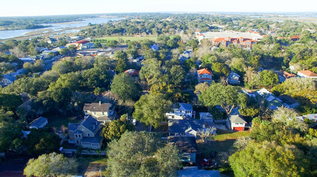 augustine: Saint Augustine, Florida. Aerial view at dusk. Stock Photo