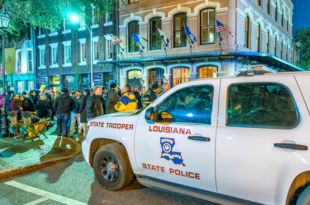 NEW ORLEANS - JANUARY 21, 2016: A police car in the French Quarter in New Orleans. The city maintains a high police presence to protect the tourist industry, an income source.