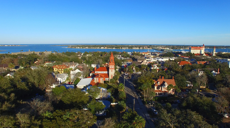 augustine: St Augustine, Florida. Beautiful aerial view on a sunny day.