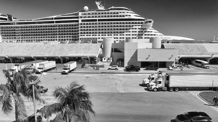 liner transportation: MIAMI - FEBRUARY 27, 2016: Cruise ships in Miami port. The city is a major destination for cruise companies