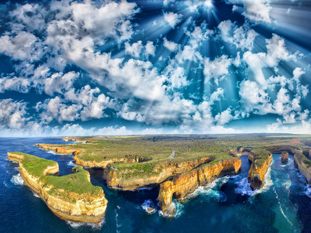 Loch Ard Gorge aerial view on the Great Ocean Road. Stock Photo