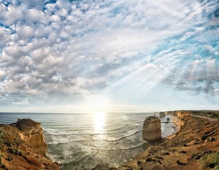 twelve: Sunset aerial view of Twelve Apostles, Australia.