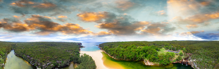 Sunset aerial view of Royal National Park, New South Wales - Australia.