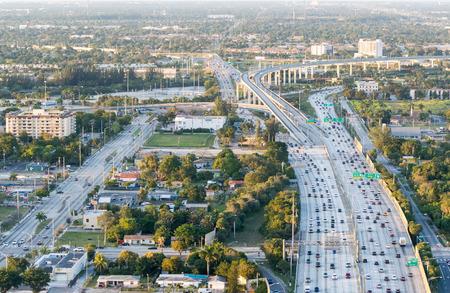 interstate: Aerial view of interstate traffic.