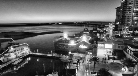 destin: Destin, Florida. Aerial view at night. Stock Photo