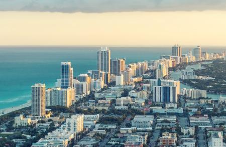 panoramic beach: Miami Beach aerial view, Florida. Stock Photo