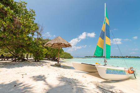palapa: Boat on Maldives Island. Stock Photo