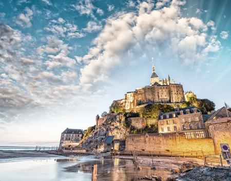 mont saint michel: Mont Saint Michel at dusk, France.